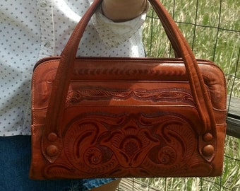 Vintage Leather Tooled Handbag Etched Stamped Brown Purse Bohemian Boho Southwestern Western Style 1970s Floral Mexican Flore's Bags
