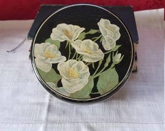 Lovely Vintage White Poppy Tin