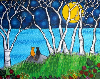 Cats full moon birch trees Ocean Print Shelagh Duffett