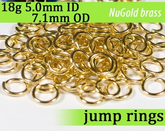 18g 5.0mm ID 7.0mm OD NuGold brass jump rings -- 18g5.00 open jumprings gold golden links