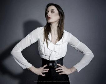 white silk blouse, woman blouse, silk blouse