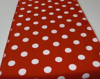 11 x 108 Inch Red and White Polka Dot Table Runner