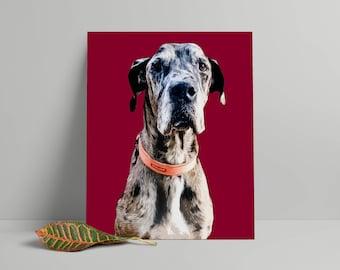 Custom dog Pop art portrait, Pop art dog portrait from photo, Pop art pet portrait, Personalized gift, Gift for boyfriend, Colleague gift