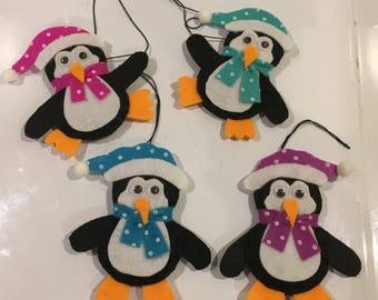 lot de 4, pingouin en feutrine ,décoration de noel à suspendre au sapin fait main unique,décoration de noel