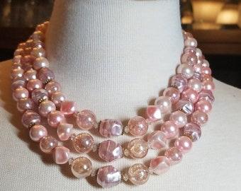 30% Off Sale Triple Strand Pink Vintage Lucite Plastic Unique Beads Necklace