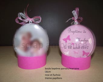 Godfather godmother gift / christening gift / personalized / plastic/plexi ball / baptism gift / 6cm, 7cm, 8cm, 10cm