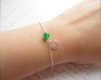 Initial Bracelet, Customized Bracelet, Customized Jewelry, Swedish Jewelry, Green Jewelry, Bridal Party Jewelry, Scandinavian Jewelry