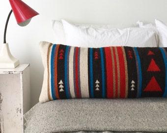 Wool Lumbar Pillow Cover, Lumbar Pillow, Boho Lumbar Pillow, Southwest Lumbar Pillow, Kilim Lumbar Pillow, Bohemian Pillow