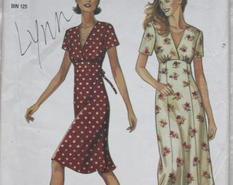 "Sz. 6-16 bust 30.5"" - 38""  New Look by Simplicity  Sewing Pattern 6478 Long or Short Empire  Dress, V- Neck"