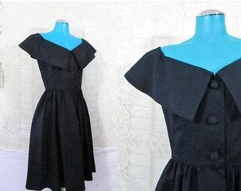 30% OFF FLASH SALE Vtg 80s 1950s Style Kathryn Conover Off Shoulder Brocade Gothic Tea Dress    size S   