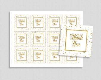 Gold Favor Tags, White and Gold Glitter Confetti Thank You Party Favor Tags, Neutral Baby Shower, INSTANT PRINTABLE