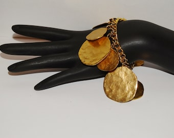 Kenneth Lane Brass Hammered Medallions Charm Bracelet.