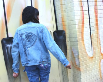 Hand Painted Denim Jacket: Henna Elephant