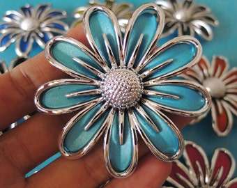 2 pcs 60mm Large  Rubberized Acrylic flower  -baby blue  and sliver (S057)