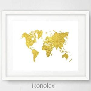 Mapa grande del mundo etsy gold world map gold map of the world gold world map poster printable gumiabroncs Gallery