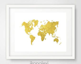 Gold world map, gold map of the world, gold world map poster, printable map, world map, large world map, world map decor, gold wall art