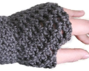 Crochet fingerless gloves,hobo gloves,grey fingerless gloves,texting gloves,typing gloves,wrist warmers,custom gloves.