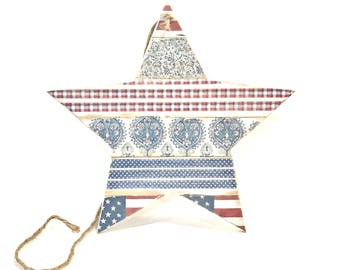4th of July Decor - 4th of July - Wood Star - Red White Blue - Patriotic Decor - Patriotic Star - Fourth of July - Wooden Star - Star