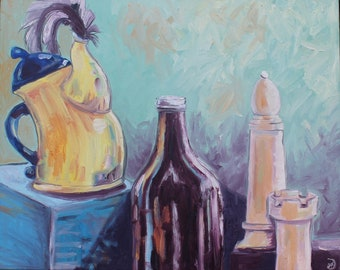Tea, Beer, and Chess, Original Oil Painting