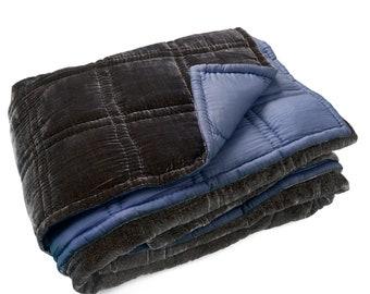 Grey blue 100% natural velvet silk quilt -    Silk quilt - Silk bedspread - Quilted bedspread - Silk bedcover - Silk blanket