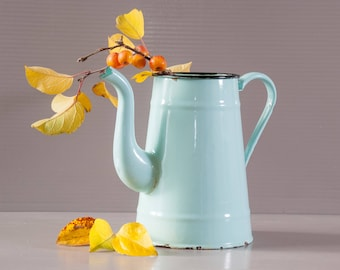 Enamel Coffee Pot | Turquoise Coffee Pot | French Farmhouse | Rustic Kitchen | French enamelware | Blue Enamel Pot | Shabby Chic Kitchen
