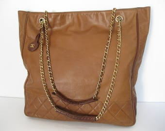 Vintage CHANEL large tan leather chain link signature shopper tote bag