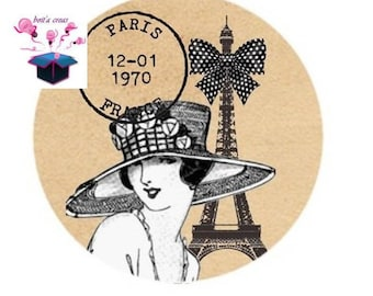 1 cabochon clear 20mm chic paris theme