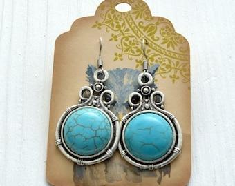Silver Turquoise Earrings, Turquoise earrings, Silver earrings, Bali earrings, Indian turquoise earrings, Bohemian jewelry