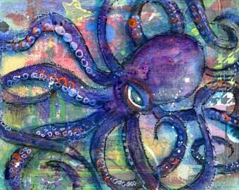 Purple Octopus/Squid Art Print-Giclee-Fine Art Reproduction-Nautical-Coastal-Beach House Decor-Fish Art-Art Fish-Mixed Media-Sea Life-Ocean