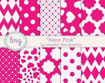 Neon Pink Digital Paper, Scrapbook Paper, Pink Digital Paper, Polka Dots, Chevron Paper, Colorful Paper, Digital Download, Instant Download