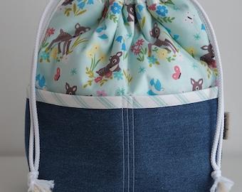Bambi Print Pocketed Drawstring Bag with Denim Base