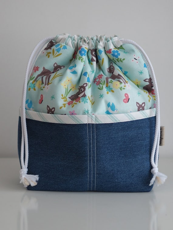 Bambi Print Pocketed Drawstring Bag with Denim Base