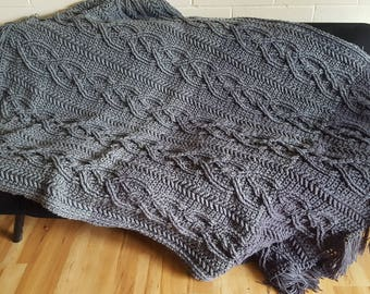 Stunning cabled crochet throw- hand crocheted in the color of your choice