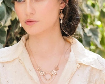 Rose Gold Necklace, Rose Gold Layered Necklace, Rose Gold Dangle Necklace, Rose Gold Statement Necklace, Holiday Gift Necklace, Gift For Her