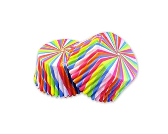 Rainbow Swirl Cupcake Baking Liners, Greaseproof Paper, Baking Supplies, Cake Decorations, Party Supplies, 32 pcs