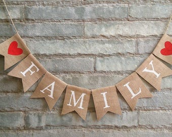 FAMILY Burlap Banner – Burlap banner, Burlap sign, Mantel decoration, Entryway banner, Rustic home decor.