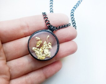Gold Glitter Terrarium Necklace Pendant, Glass Gold Jewelry, Mother's Day Gift, Wedding Gift, Yellow Gold, Spring Breath