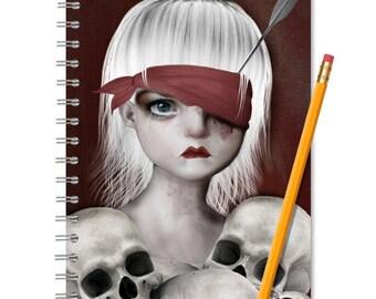 Girl and Skulls | A5 Notebook Journal | Spiral Notebook | Lined or blank | Sketchbook | Handmade Notebook | Art Journal | Writing Notebook