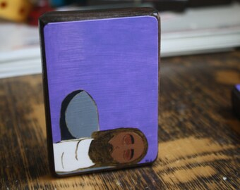 """2.5"""" X 3.5"""" Jesus is Laid in the Tomb Byzantine Folk style icon on wood by DL Sayles"""