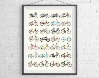 Bicycle Poster - Vintage Bicycles - Road Bikes & Cruisers - Bike Poster - Bike Art - Bicycle Print - Schwinn - Wall Art