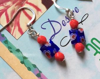 Blue Millefiori Dangle Earrings
