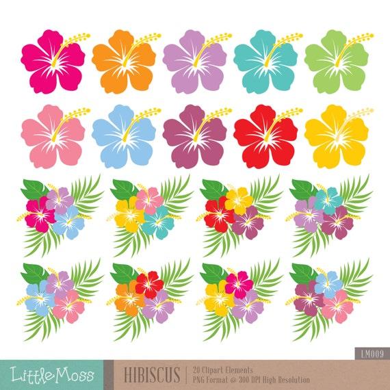 Hibiscus Digital Clipart Hawaiian Flower Clipart