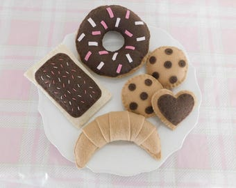 Chocolate Donut with Sprinkles Felt Tea Party Set with Donut, Cookies, Pop Tart, and Croissant