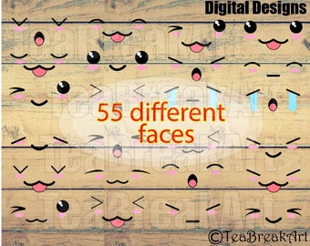 Kawaii Faces  SET 1  chibi monogram design Digital Clip Art Graphics for Personal Commercial Use digital for vinyl iron on (022)