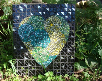 Stained Glass Mosaic Swirled Heart Wall Art