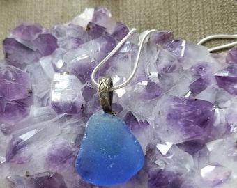 Lake Michigan Beach Glass Pendant Cobalt Blue