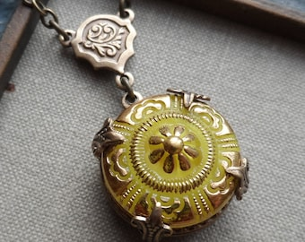 Vintage Glass Button Necklace, Yellow Floral Design with Gold Highlights, Designs by Timeless Trinkets