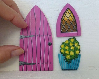 Set Magenta Door Window & Flower Pot Hand Painted Fairy Door Tooth Fairy Door Stained Glass Window Miniature Magic Door  #129