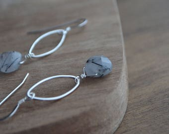 Black Rutilated Quartz Earrings, Sterling Silver Marquise, Tourmalinated Quartz, Gemstone Dangle Earrings, Drop Earrings,