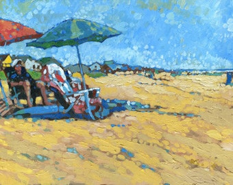 Beach Time (Oil painting, 18x36)
